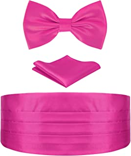 HDE Cummerbund, Bow Tie, Pocket Square for Men Satin Tuxedo Set