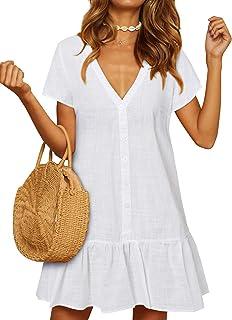 YOINS Vestido de Verano para Mujer Mini Vestido de Manga Corta Color sólido Cuello en V con Botones Camisa de Vestido
