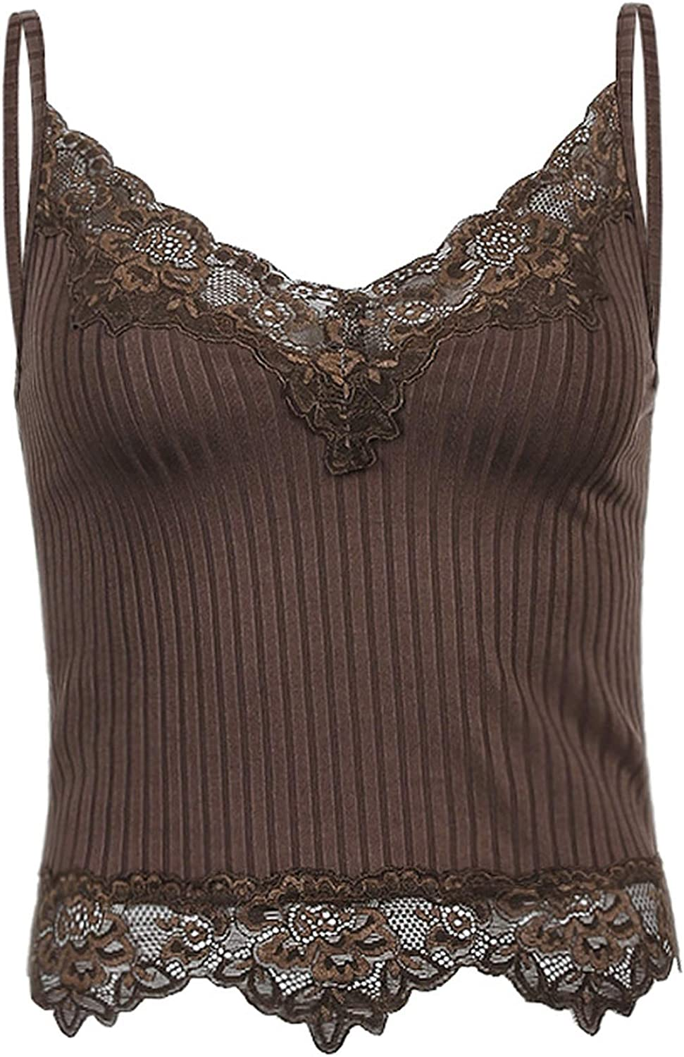 Lace Patchwork Brown Crop Top Y2k Clothes Fairy Grunge Style Cropped Tees Cami Ribbed Knitted Tank Tops