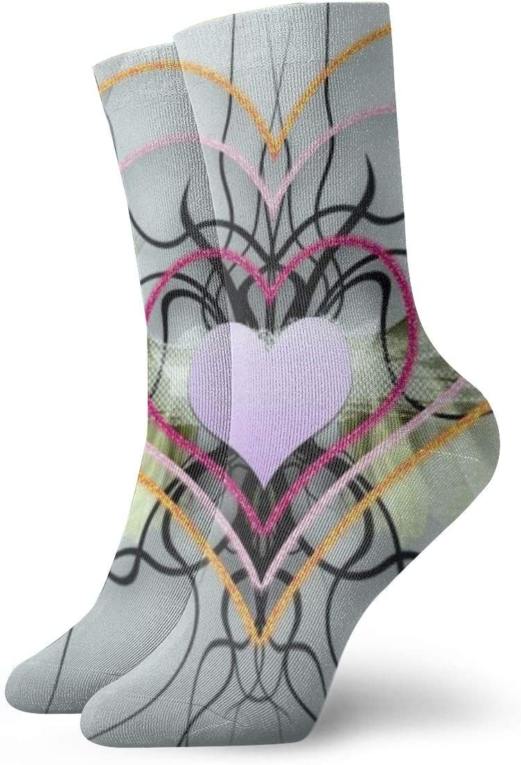 Unisex Casual Heart with Wings Socks Moisture Wicking Athletic Crew Socks