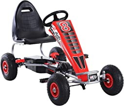 Aosom Metal Pedal Powered Car, Go Kart Racer, Ride On Toys for Boys & Girls with Adjustable Seat & Sharp Handling - Red