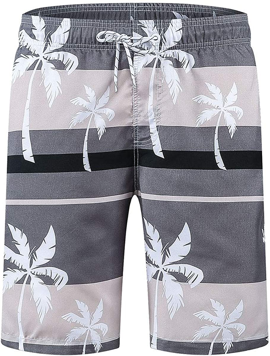 ELIKIDSTO Man's Stylish Quick Dry Stretch Swim Trunk with Boxer Brief Liner