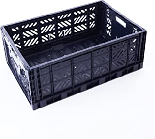 AYKASA Collapsible Storage Bin Container Basket Tote, Folding Basket Crate Container : Storage, Kitchen, Houseware Utility Basket Tote Crate = Maxi-Box Comfort Lock (Navy)