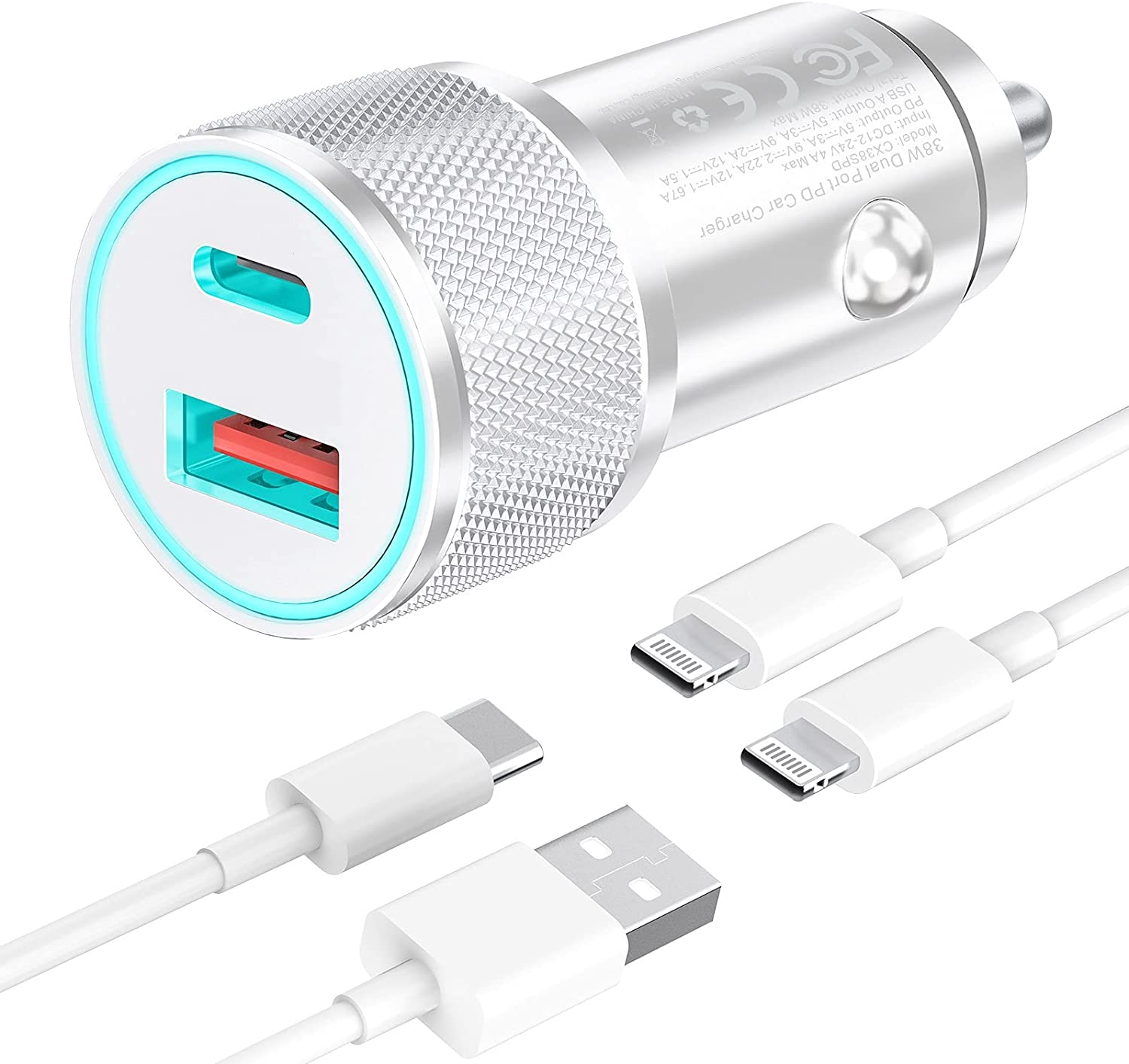 esbeecables Car Charger, [Apple MFi Certified] 38W iPhone Fast Charge, PD/QC3.0 Type C USB Dual Port Metal Mini Cigarette Lighter Car Adapter with 2 Pack Lightning Cable, for iPhone/iPad/Airpods