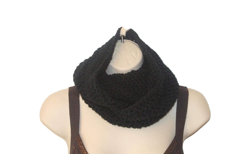 Handmade Crochet 5 High quality ☆ very popular Black Infinity Scarf Slouchy Womens Mens Winte