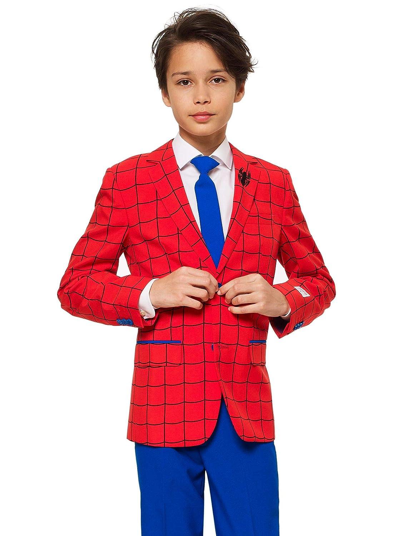 別の版画の男の子のための反対狂気のスーツ - 面白いデザインのジャケット、パンツ、ネクタイが付属しています