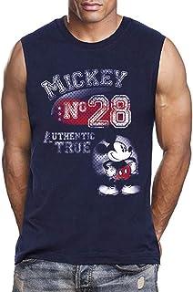 تيشيرت رجالي مطبوع عليه Disney Mickey Mouse مقاس 28، أزرق داكن