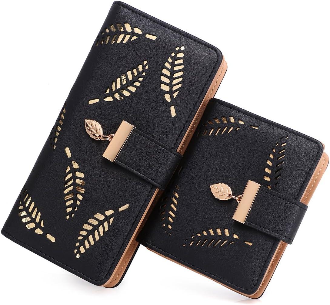 Women's Long short Outstanding Leather Money Clip Card Holder Zip Case Purse Industry No. 1