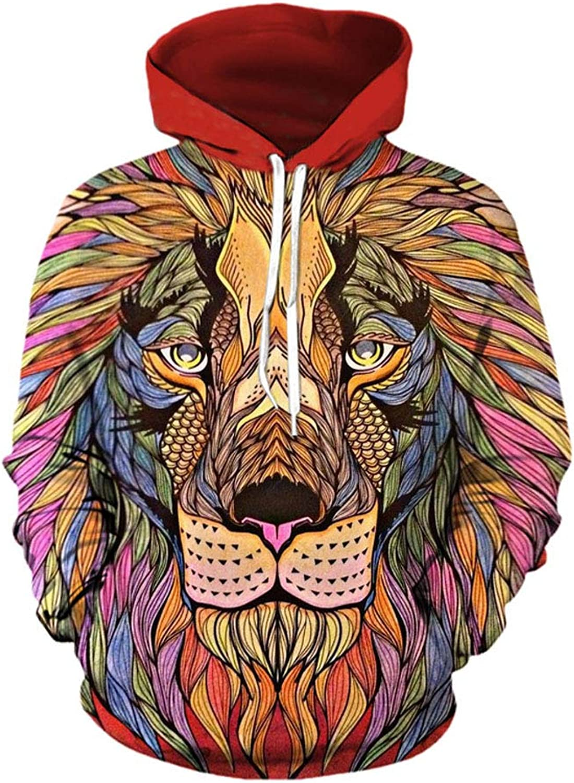 Sweatshirt Lion 3D Digital Print Hooded Baseball Uniform Couple Sweater Male