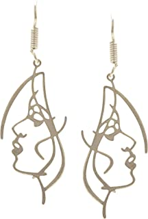 Fashion Silver Plated Face Abstract Vintage Hypoallergenic Dangle Hanging Statement Earrings Jewelry