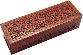 Wooden Flower Design Carving Pen/Pencil Box, Stationary Storage Box, Wooden Pencil Holder | Handmade | (8 x 2 inch),Valentine Day Gifts