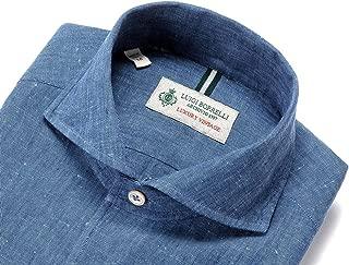 ルイジボレッリ ルイジボレリ LUIGI BORRELLI / 20SS!製品洗いリネンポプリン無地イタリアンカラーシャツ「VESUVIO-EX(9129)」 (インディゴブルー) メンズ