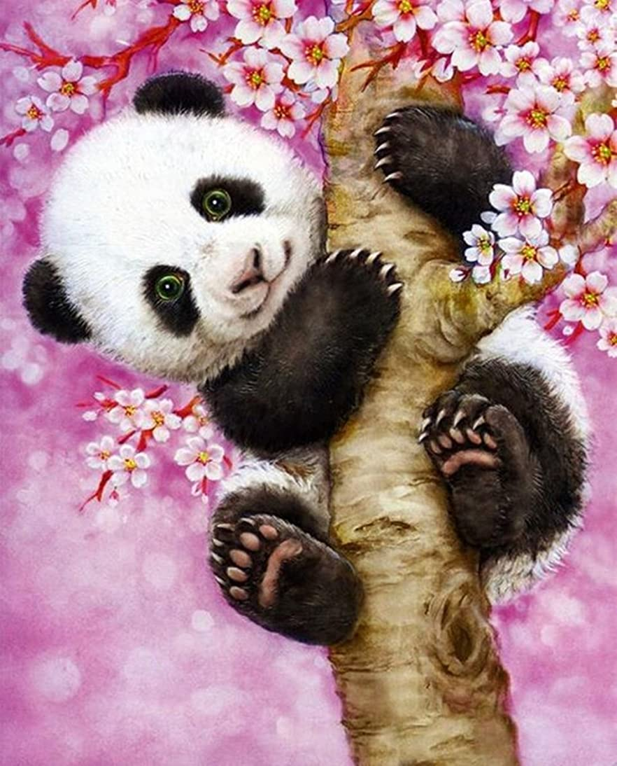 DIY 5D Diamond Painting Kit, Cute Panda Embroidery Rhinestone Cross Stitch Arts Craft Canvas Wall Decor