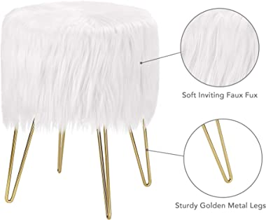 Wnutrees Home Storage Faux Fur Vanity Stool Chair, Soft Furry Compact Padded Seat, Round Modern Luxe Footrest Ottoman with Go