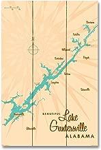 Lake Guntersville Alabama Vintage-Style Map Wood Art Print by Lakebound (12