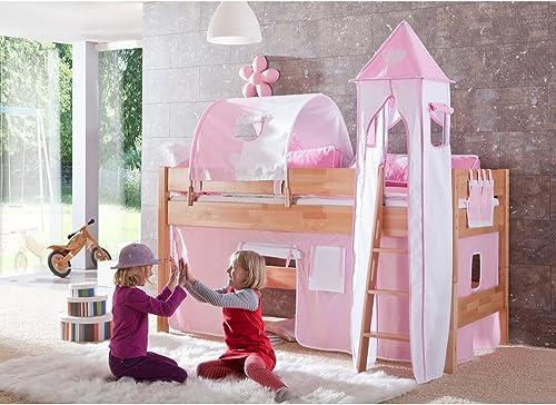 Relita Halbhohes Spielbett Kelila mit 3 tlg. Stoff-Set Rosa Weiß, Buche massiv natur lackiert