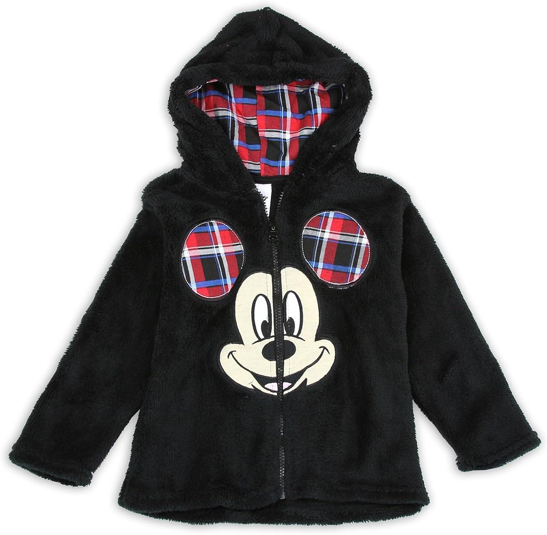 Disney Little Boys Mickey Mouse Plush Zip Hoodie Jacket