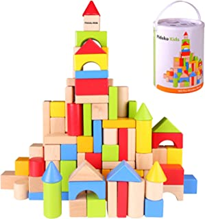 Pidoko Kids Wooden Building Blocks Set - 100 Pcs - Includes Carrying Container - Hardwood Plain & Colored Wood Block for Boys & Girls