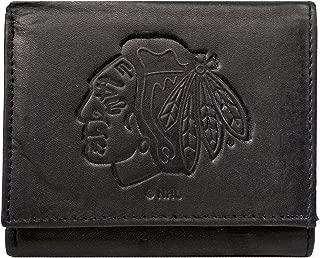 Rico Chicago Blackhawks NHL Embossed Logo Black Leather Trifold Wallet
