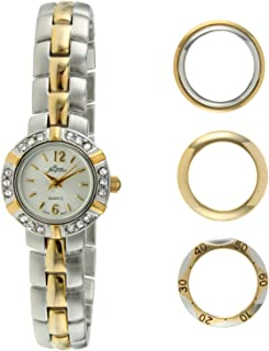 Pierre Jacquard Women's Two-Tone Crystal Petite Watch with Interchangeable Bezels Gift Set