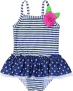 iEFiEL Costumi da Bagno Bambina Mare Bimba Fiore Costume Intero Senza Manica Beachwear Neonata Romper Senza Schienale Swimsuit Punto Moda Costumi Interi