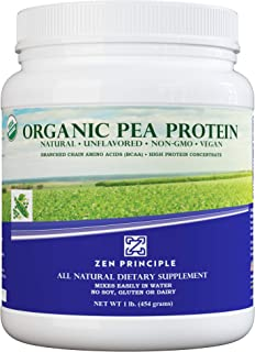 1 lb. Ultra Premium Organic Pea Protein Powder. USDA Certified ONLY from USA and Canada Grown Peas. No GMO,...