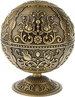 D DOLITY Mini Portable 3D Embossed Flower Round Ball Box for Jewelry Ashtray Ash Box - Bronze