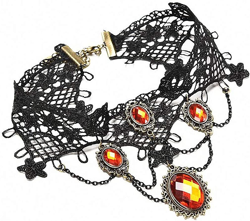Xileg Red Rhinestone Gothic Jewelry Vintage Lace Necklace & Pendant Women Accessories Choker Necklace Collar Necklaces