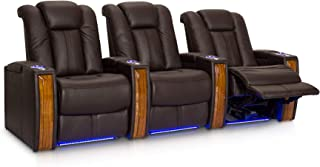 Seatcraft Monaco Leather Power Recline Home Theater Seating Chairs | Powered by SoundShaker (Row of 3, Brown)