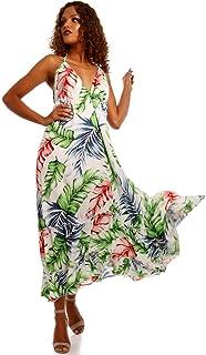 1a0f0168369db3 YC Fashion & Style Damen Maxikleid Bohemian Hippie Latino Ibiza Kleid  Neckholder Rückenausschnitt Strand Sommer und