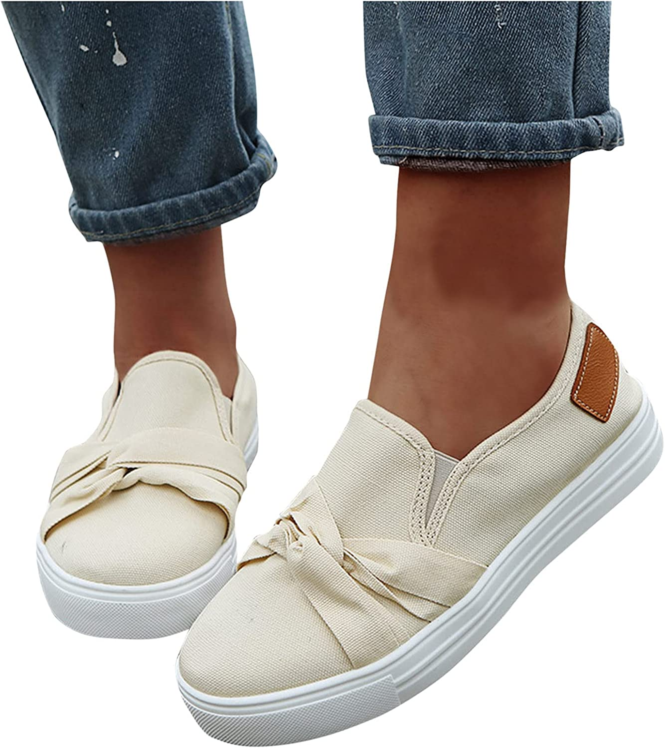 Walking Shoes for Women,Slip On Casual Breathable Casual Bowknot