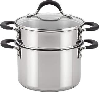 Circulon 78017 Momentum Stainless Steel Sauce Pan/Saucepan with Steamer Insert, 3 Quart, Silver
