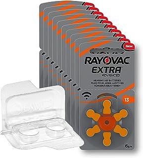 60x Rayovac Extra Advanced Gr. 13-10x 6er Blister Hörgerätebatterien PR48 Orange 24606 + Aufbewahrungsbox für 2 Hörgeräteb...