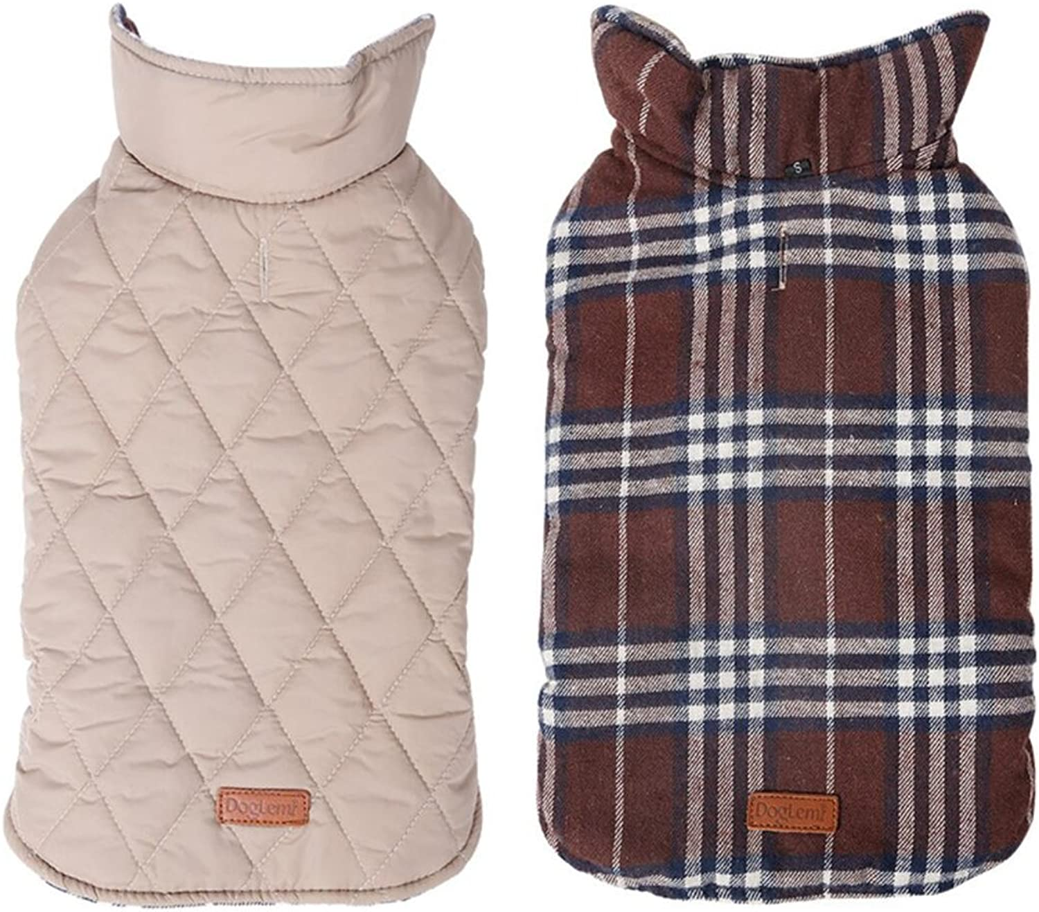 Delifur Waterproof Dog Plaid Jacket Dog Jackets for Winter Dog Winter Coat Cotton Coat Reversible to Wear Warm Clothes for Small Medium Large Dogs (3XL, Brown)