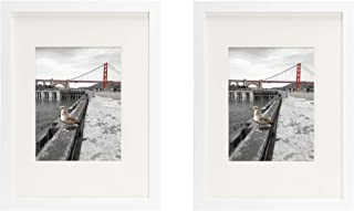 Frametory, Set of 2, 12x16 White Picture Frame - Made to Display Pictures 8.5x11 Photo with Ivory Color Mat - Wide Molding - Preinstalled Wall Mounting Hardware (12x16, White)