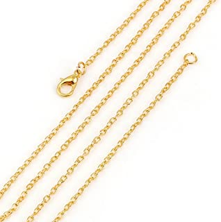 Gold Cable Link Chain, Wholesale 12 Pieces, Each 30 Inches Long (3 x 2.2mm)