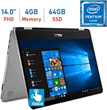 2019 Asus VivoBook Flip 14.0'' 2-in-1 360° Hinge Touch FHD (1920 x 1080) Laptop PC, Intel Quad Core Pentium N5000 up to 2.7GHz, 4GB RAM, 64GB eMMc, Bluetooth, Fingerprint Reader, Windows 10