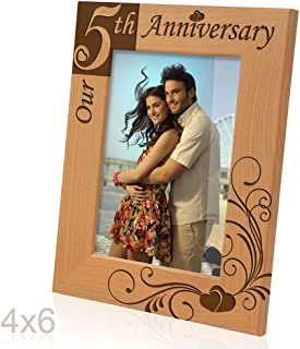 Kate Posh - Our 5th Anniversary Wooden Picture Frame (4x6 Vertical)