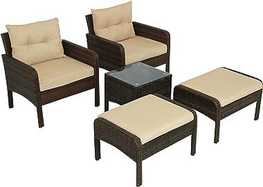 MOERDENG 5 Piece PE Rattan Wicker Outdoor Patio Furniture Set with Glass Table Sofa