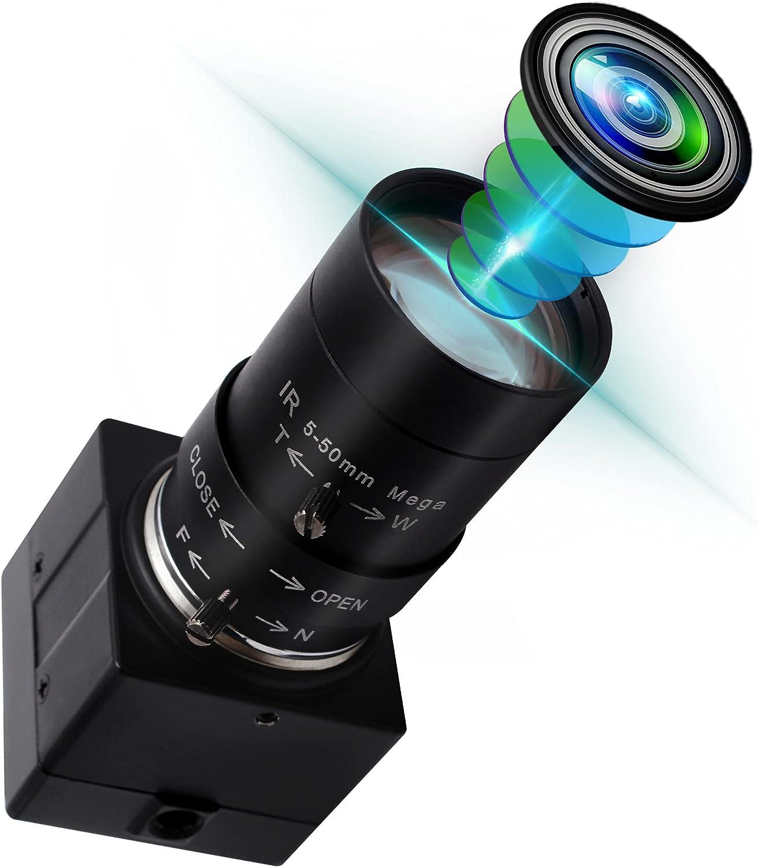 2MP Varifocal Webcam 10X Optical Zoom Camera,5-50mm Vari-focus Webcamera with Cmos OV2710 Image Sensor,High Speed 480P@100fps Zoom Webcam,Plug&Play USB2.0 Web Camera for Windows/Linux/Raspberry Pi,etc