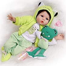 Seedollia Real Life Reborn Baby Doll 2 Outfits Blue Eyes Newborn 22 Inches Green with Toy Frog