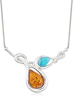 Ross-Simons Amber and Blue Howlite Necklace in Sterling Silver
