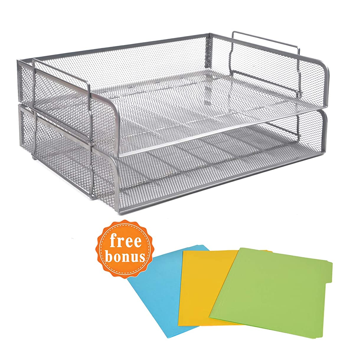 2 Tier Paper Letter Tray Desk Organizer with Bottom Support Frame Stackable Desktop File Document Organizer Metal Mesh Collection Office Desk Accessories with 3Pcs File Folders,Horizontal Silver