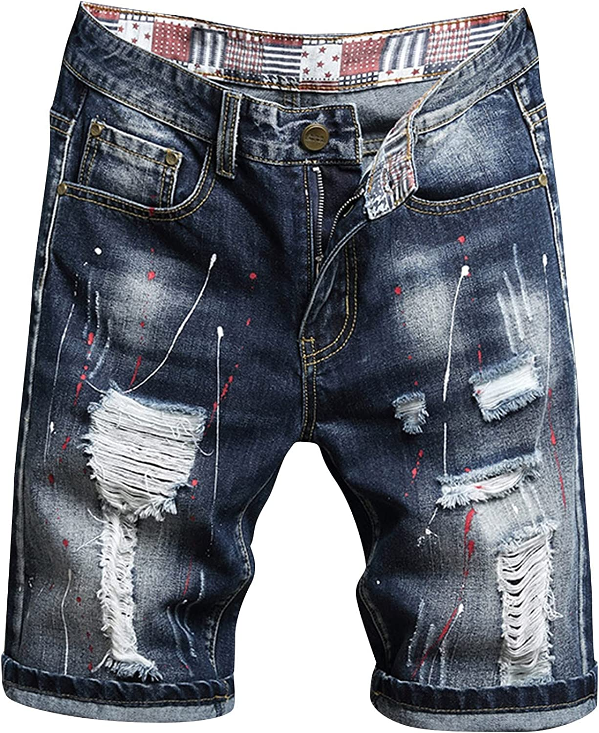 GTYX Mens Denim Shorts Big and Tall Summer Casual Retro Plus Size Trousers Fashion Sports Pants