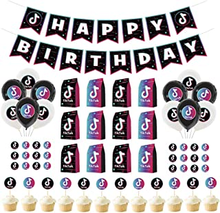 61 Pcs TIK Tok Birthday Party Decoratioms Set,Gift Bags,Banner,Balloon,Stickers and Cake Topper for Girl's Music Karaoke T...