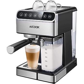 Aicook Machine à Café Automatique,15 Bar Cafetiere Expresso avec Écran Tactile LCD et Mousseur à Lait Inox, Cappuccino et latte, Fonction Auto-nettoyage, 1.8L Amovible Réservoir D'eau, 1350W