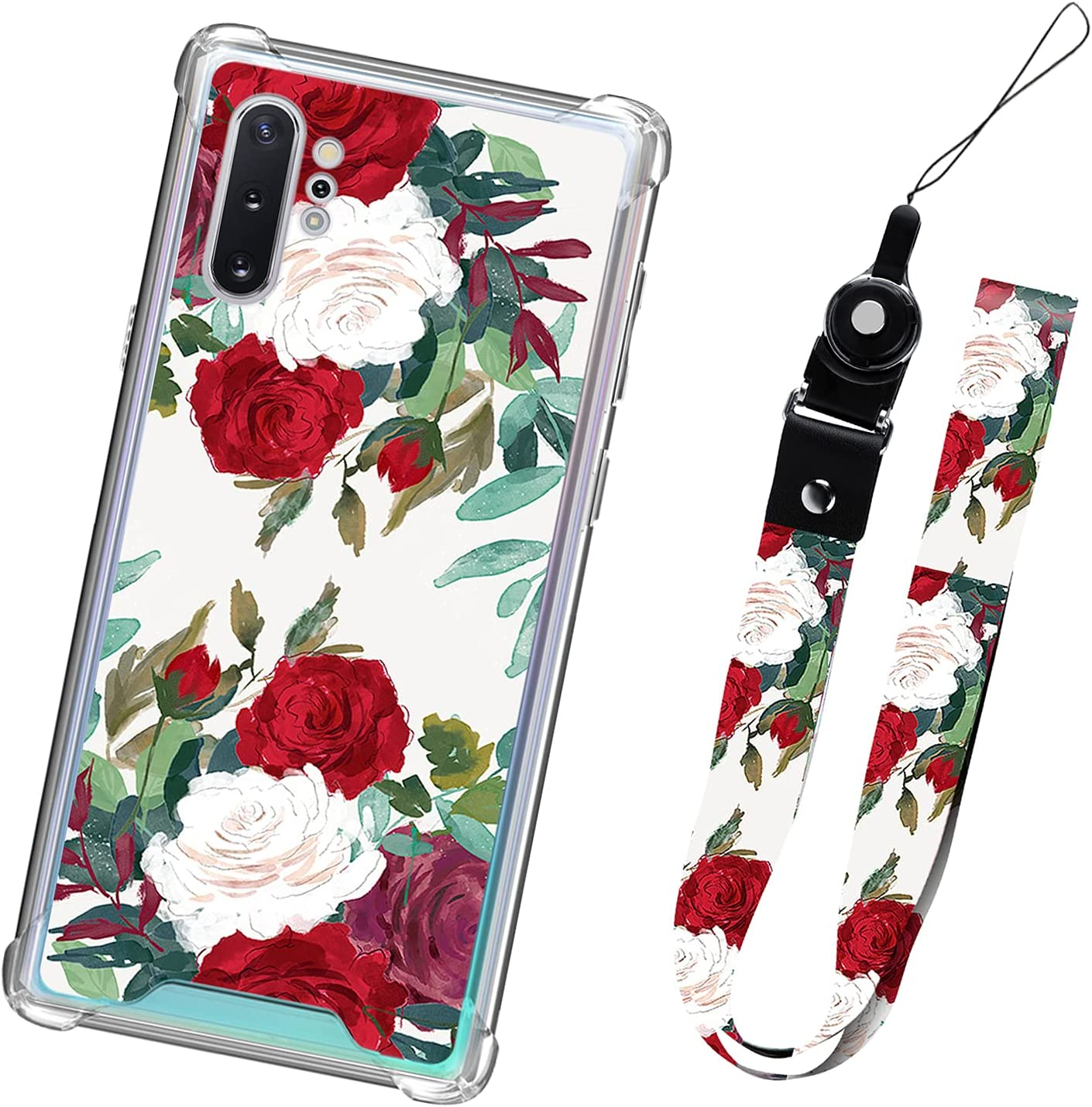 Samsung Galaxy Note 10 Plus Case with Lanyard Strap Flower Floral for Women Girls Protective Heavy Duty Cute Red Roses Pattern Cell Phone Bumper Cover for Galaxy Note 10 Plus 5G 6.8