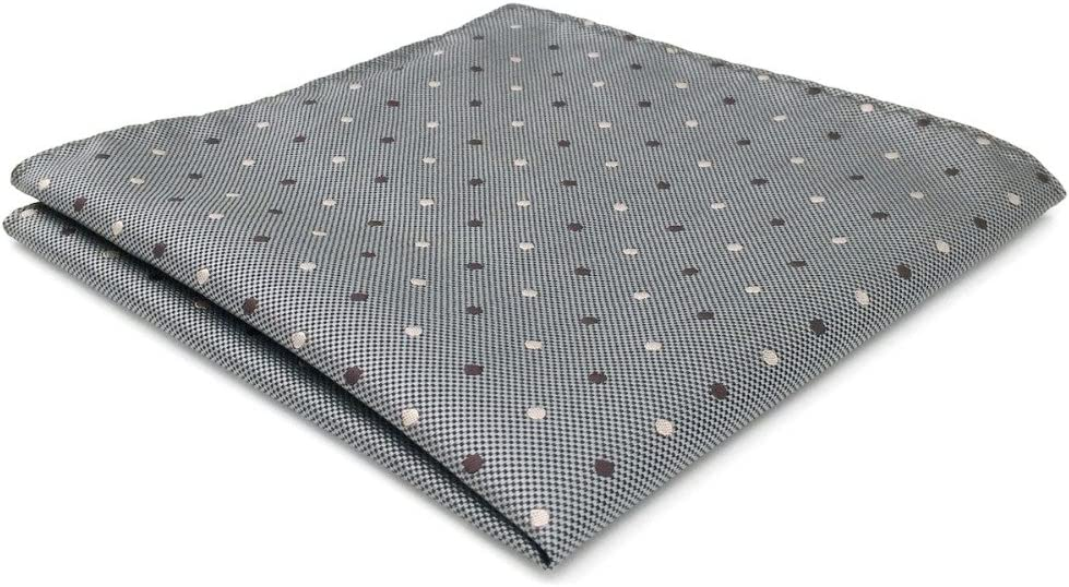 Tomeco CH21 Gray Polka Dots Silk Mens Pocket Square Hanky Fashion Wedding Acceossories Handkerchief