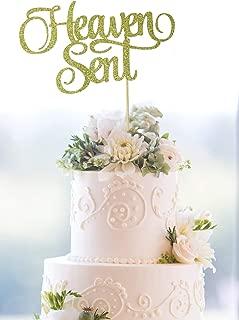 Starsgarden Heaven Sent Cake Topper Baby Shower Cake Topper Gender Reveal Cake Topper Heaven Sent Topper Baptism Cake Topper(Gold Heaven Sent)