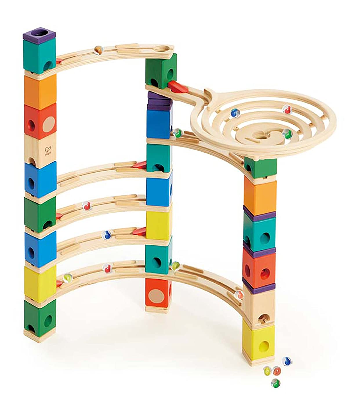Award Winning Hape Quadrilla Wooden Marble Run Construction - The Xcellerator